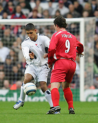 LIVERPOOL, ENGLAND - SUNDAY MARCH 27th 2005: Liverpool Legends' Robbie Fowler and Celebrity XI's Amir Khan during the Tsunami Soccer Aid match at Anfield. (Pic by David Rawcliffe/Propaganda)