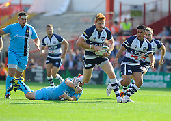 Bristol Outside Centre Jack Tovey evades a worcester tackle  - Photo mandatory by-line: Joe Meredith/JMP - Mobile: 07966 386802 - 7/09/14 - SPORT - RUGBY - Bristol - Ashton Gate - Bristol Rugby v Worcester Warriors - The Rugby Championship