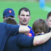 French Coach Marc Lievremont addresses his players during the teams training session at  Onewa Domain, Auckland in preparation for the Rugby World Cup Final against New Zealand at the IRB Rugby World Cup tournament, Auckland, New Zealand, 19th October 2011. Photo Tim Clayton...