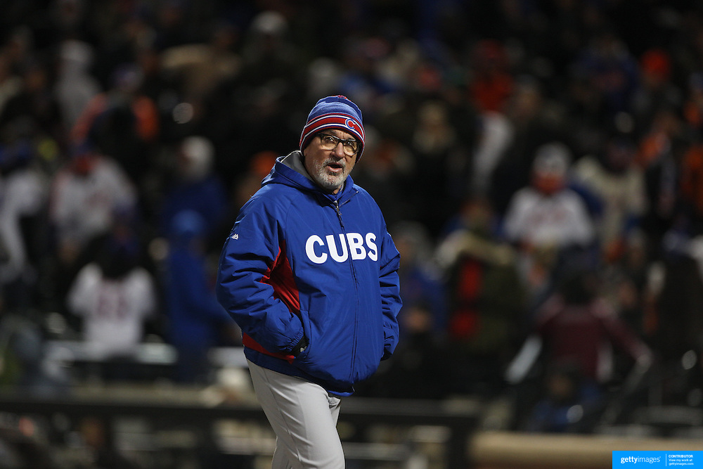 Joe Maddon, Chicago Cubs manager during the MLB NLCS Playoffs game two, Chicago Cubs vs New York Mets at Citi Field, Queens, New York. USA. 18th October 2015. Photo Tim Clayton