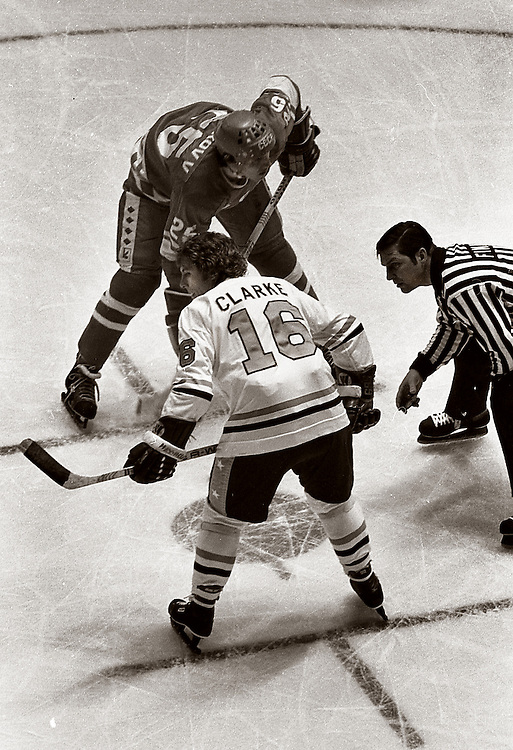 Taken at Madison Square Garden in 1979 at the U.S.S.R. versus NHL series. This was a face off involving Bobby Clarke of the NHL all stars and also of the Philadelphia Flyers.