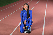 Dalilah Muhammad (USA) poses, Monday, Dec. 16, 2019, in Lake Balboa, Calif. Muhammad, the 2016 Rio Olympics and 2019 IAAF World Champion in the women's 400m hurdles, is the world record holder at 52.16 seconds. Muhammad is only the second female 400 meter hurdler in history, after Sally Gunnell, to have won the Olympic and World titles and broken the world record.
