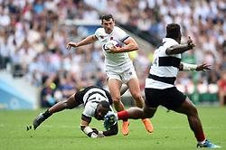 Jonny May of England gets past Semi Radradra of the Barbarians - Mandatory byline: Patrick Khachfe/JMP - 07966 386802 - 27/05/2018 - RUGBY UNION - Twickenham Stadium - London, England - England v Barbarians - Quilter Cup