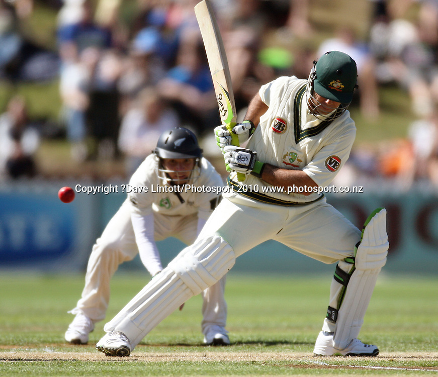 Australian Captain Ricky Ponting leaves a ball from Brent Arnel.<br /> 1st cricket test match - New Zealand Black Caps v Australia, day one at the Basin Reserve, Wellington.Friday, 19 March 2010. Photo: Dave Lintott/PHOTOSPORT