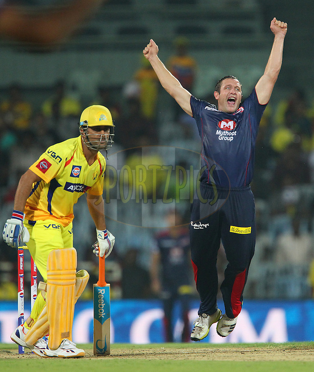 Roelof van der Merwe appeals for the wicket of Suresh Raina during match 64 of the Pepsi Indian Premier League between The Chennai Superkings and the Delhi Daredevils held at the MA Chidambaram Stadium in Chennai on the 14th May 2013..Photo by Ron Gaunt-IPL-SPORTZPICS   .. .Use of this image is subject to the terms and conditions as outlined by the BCCI. These terms can be found by following this link:..http://www.sportzpics.co.za/image/I0000SoRagM2cIEc