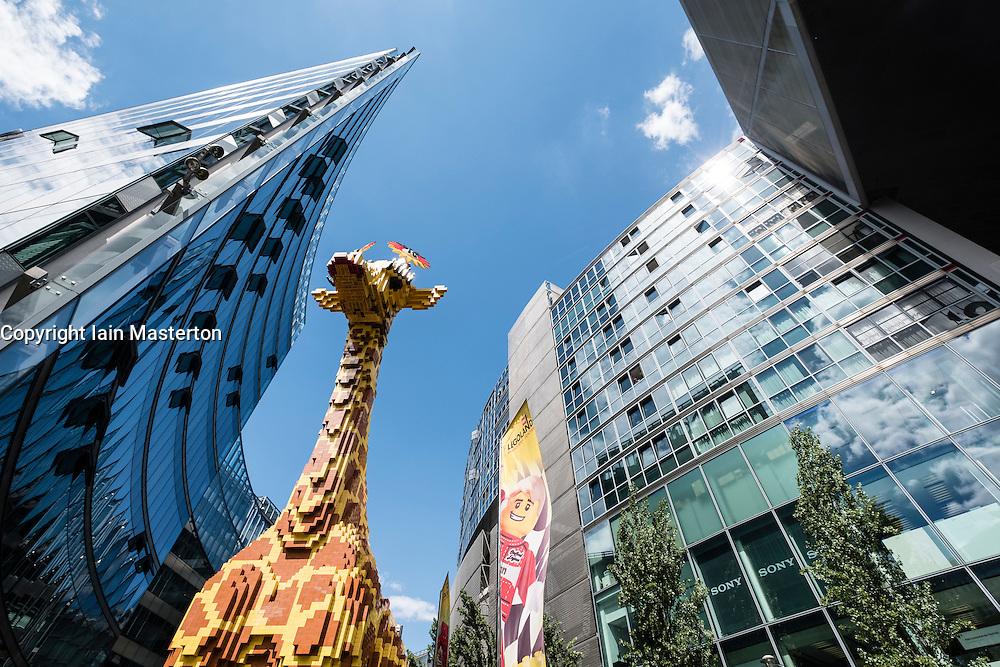 View of giraffe made from Lego at Legoland inside Sony Centre Potsdamer Platz Berlin Germany