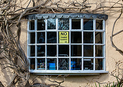 © Licensed to London News Pictures. 27/02/2020. London, UK. Signs in the windows of local homes in Harmondsworth. Reprieve for the ancient village of Harmondsworth in the borough of Hillingdon which sits 2 miles from Heathrow and was forecast to be almost demolished by the third runway as Heathrow's third runway is blocked by the Court of Appeal at the High Court on environmental grounds. Photo credit: Alex Lentati/LNP