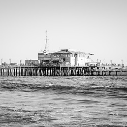 End of Santa Monica Pier black and white photo with Mariasol restaurant and Harbor Office buildings in Southern California. Copyright ⓒ 2017 Paul Velgos with All Rights Reserved.