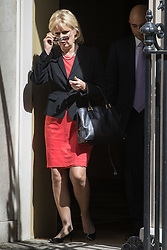 Small Business Minister Anna Soubry leaves Prime Minister David Cameron's final cabinet meeting following Theresa May's anticipated takeover as Leader of the Conservative Party and Prime Minister on Wednesday 13th July 2016.
