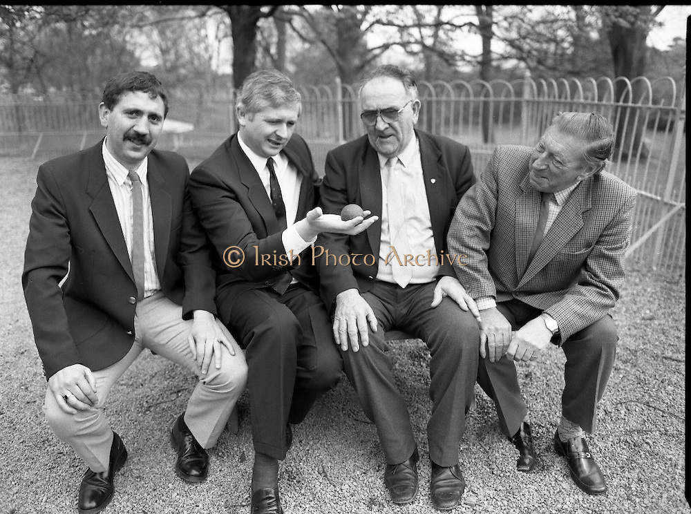 "First Dublin Road Bowling Tournament. (R99)..1989..03.04.1989..04.03.1989..3rd April 1989..The first Dublin road bowling tournament, sponsored by AIB and run by Bol Chumann Na hÉireann, in aid of Cerebral Palsy Ireland. It will take place in the Phoenix Park on Sunday 14th May 1989. This was announced at a reception in the Phoenix Park..The rout of the tournament will be from Mountjoy Crossing through The Whitefields Road to the Phoenix Monument and back the Straight Road to the finishing line at mountjoy Crossing, a distance of two miles..Armagh and Cork will challenge each other for a new Perpetual Trophy ""Super Bol""...Image shows (L-R), World Champion bowler,Bill Daly, Cork, Mr Pat O'Mahony, General Manager,AIB, Mr Jerry Desmond, Honorary Treasurer,Bol Cumann na hEireann and Mr Norman Cairns,Chairman,Cerebral Palsy Ireland at the press conference to launch the tournament."