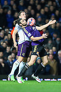 Andy Carroll of West Ham United (right) holds of Phil Jagielka of Everton (left) during the FA Cup match at the Boleyn Ground, London<br /> Picture by David Horn/Focus Images Ltd +44 7545 970036<br /> 13/01/2015