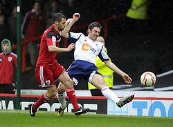 Bristol City's Sam Baldock battles for the ball with Bolton Wanderers' Sam Ricketts - Photo mandatory by-line: Joe Meredith/JMP - Tel: Mobile: 07966 386802 13/04/2013 - SPORT - FOOTBALL - Ashton Gate - Bristol - Bristol City V Bolton Wanderers - Npower Championship