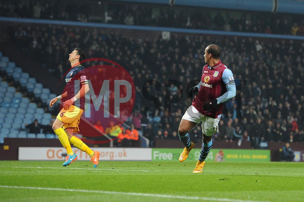 Aston Villa's Gabriel Agbonlahor wheels away in celebration - Photo mandatory by-line: Dougie Allward/JMP - Mobile: 07966 386802 - 24/11/2014 - SPORT - Football - Birmingham - Villa Park - Aston Villa v Southampton - Barclays Premier League