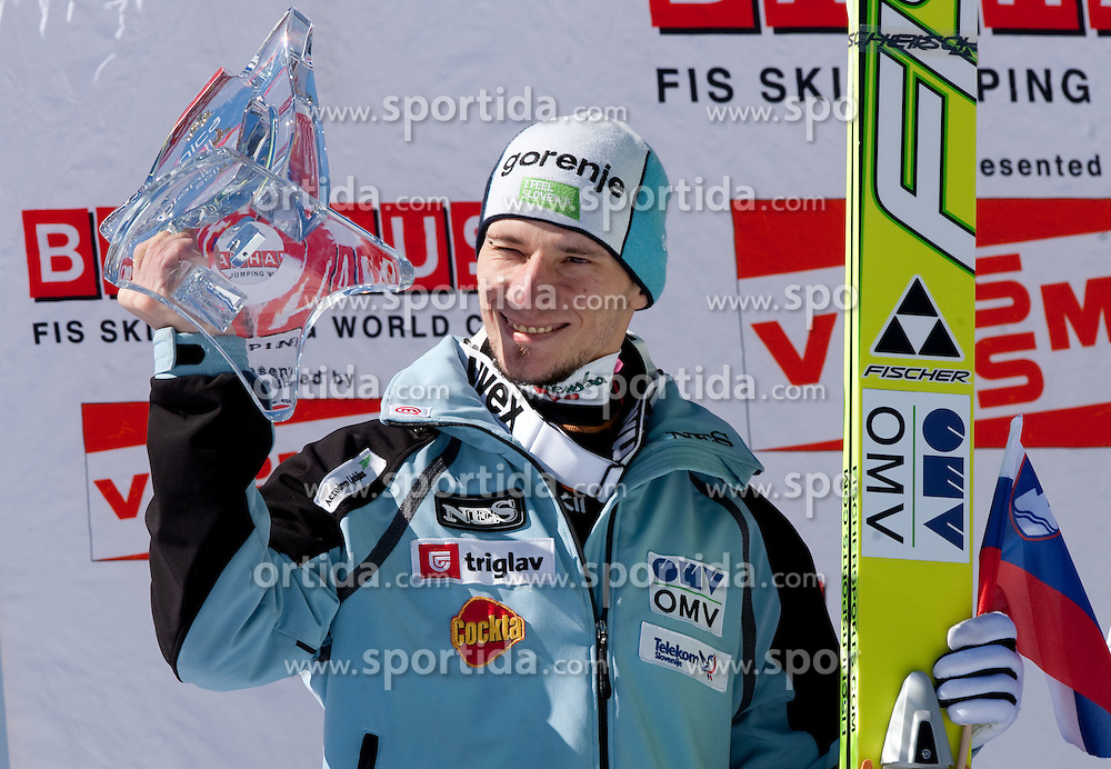 Second placed Robert Kranjec of Slovenia celebrates at flower ceremony after the Flying Hill Individual at 4th day of FIS Ski Jumping World Cup Finals Planica 2011, on March 20, 2011, Planica, Slovenia. (Photo by Vid Ponikvar / Sportida)