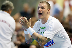Szabolcs Zubai #25 of Hungary during handball match between National teams of Slovenia and Hungary in play off of 2015 Men's World Championship Qualifications on June 15, 2014 in Rdeca dvorana, Velenje, Slovenia. Photo by Urban Urbanc / Sportida