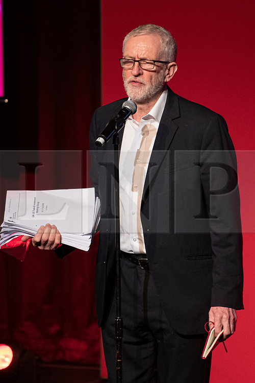 © Licensed to London News Pictures. 26/11/2019. Falmouth Cornwall, UK. The NHS for sale to USA document that the Labour Party published today. Labour leader Jeremy Corbyn speaks at a Green energy Labour rally in the Princess Pavilion in Falmouth Cornwall this evening. Photo credit: MARK HEMSWORTH/LNP