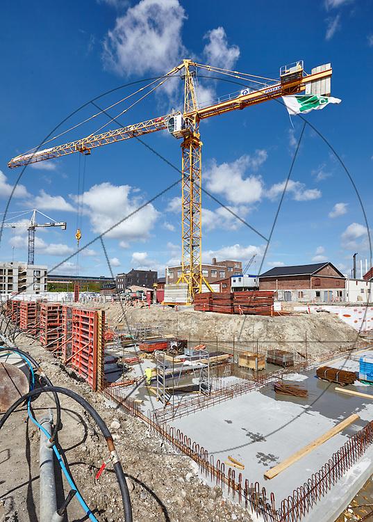 Havnekanten, Nordhavn, KPC, boligbyggeri, byggegrube, støbning af bundplade, isolering, kraner