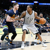 02 April 2017: San Antonio Spurs forward Kawhi Leonard (2) posts up Utah Jazz forward Gordon Hayward (20) during the San Antonio Spurs 109-103 victory over the Utah Jazz, at the AT&T Center, San Antonio, Texas, USA.