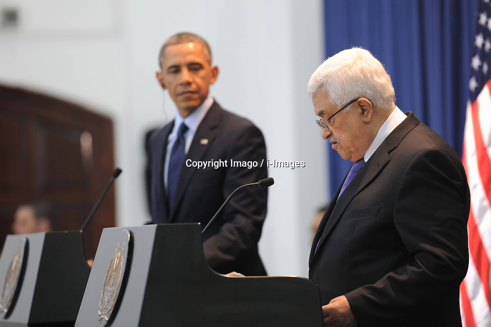 Palestinian President Mahmoud Abbas (R) and U.S. President Barack Obama attend a joint press conference in the West Bank city of Ramallah on March 21, 2013. Obama arrived in Tel Aviv in Israel Wednesday to start his Mideast tour. Obama will spend three days in Israel, the Palestinian territories and Jordan, March 21, 2013. Photo by Imago / i-Images...UK ONLY.