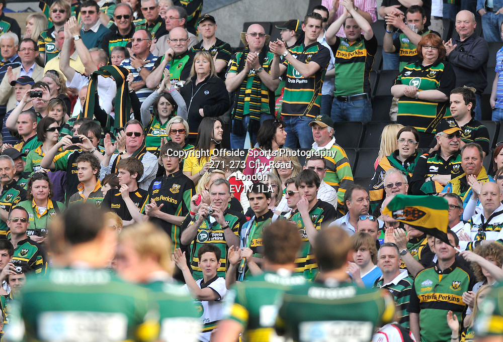 10/04/2011 - Heineken Cup Quarer Final Rugby - Northampton Saints vs Ulster - The Northampton fans celebrate the teams win. - Photo: Charlie Crowhurst / Offside.