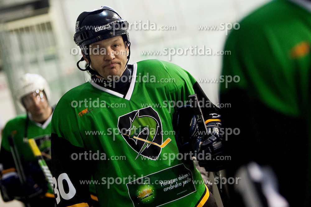 Matevz Cerar of Olimpija during Humanitarian hockey derby of legends between Olimpija and Jesenice, on 7 March 2014, in Hala Tivoli, Ljubljana, Slovenia. Photo by Urban Urbanc / Sportida.com