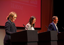 Pictured: Rebecca Long-Bailey, Lisa Nandy and Keir Starmer on stage.<br /> <br /> Candidates in the race to be the new Labour leader took part in a hustings in Glasgow on Saturday.<br /> <br /> © Dave Johnston / EEm