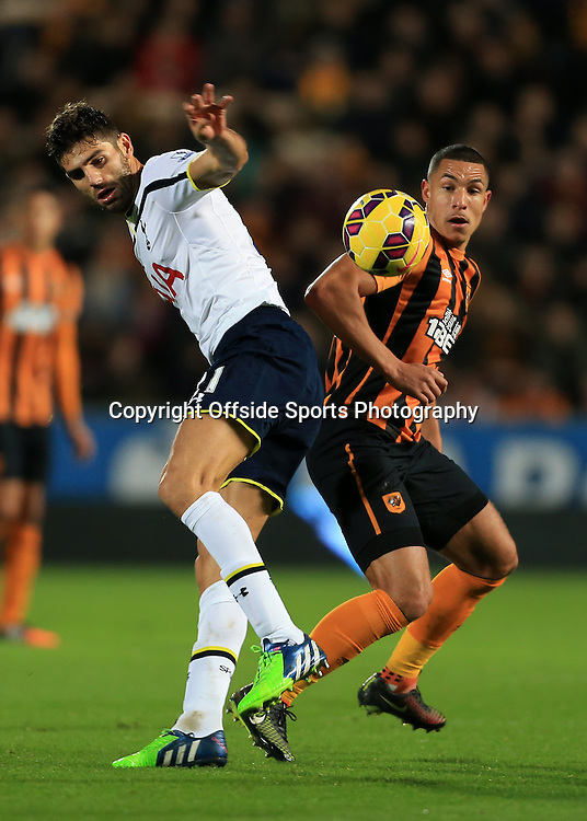23rd November 2014 - Barclays Premier League - Hull City v Tottenham Hotspur - Federico Fazio of Spurs battles with Jake Livermore of Hull - Photo: Simon Stacpoole / Offside.