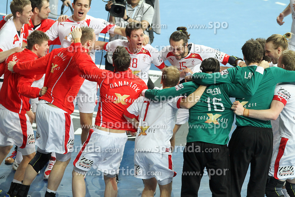 12.01.2013 Barcelona, Spain. IHF men's world championship, Quarter-Final. Picture show Denmark team after win game between Denmark vs Hungary at Palau ST Jordi (Photo by Sportida Photo Agency)