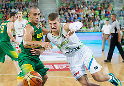 Alex Garcia of Brasil vs Edo Muric of Slovenia during friendly basketball match between National Teams of Slovenia and Brasil at Day 2 of Telemach Tournament on August 22, 2014 in Arena Stozice, Ljubljana, Slovenia. Photo by Vid Ponikvar / Sportida