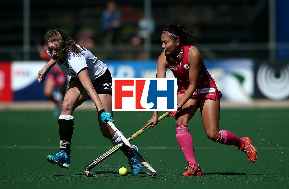 JOHANNESBURG, SOUTH AFRICA - JULY 16:  Maho Segawa of Japan battles with Franziska Hauke of Germany during day 5 of the FIH Hockey World League Women's Semi Finals Pool A match between Japan and Germany at Wits University on July 16, 2017 in Johannesburg, South Africa.  (Photo by Jan Kruger/Getty Images for FIH)