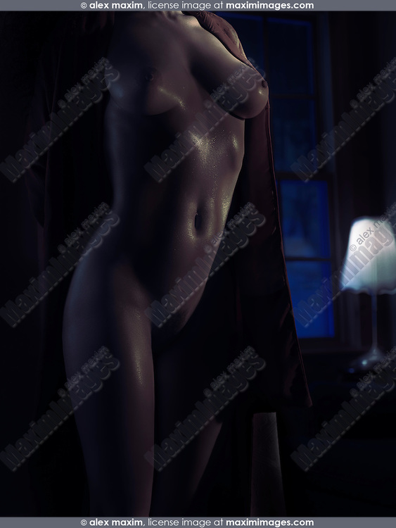 Sexy nude woman body in a dark room in dim dramatic night light with glittering skin