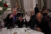 PHILIP TREACY,; URSULA FLANERY; ALAN YENTOB , Liberatum 10th Anniversary dinner in honour of Sir Peter Blake. Hosted by Pablo Ganguli and Ella Krasner. The Corinthia Hotel, Whitehall. London. 23 November 2011.