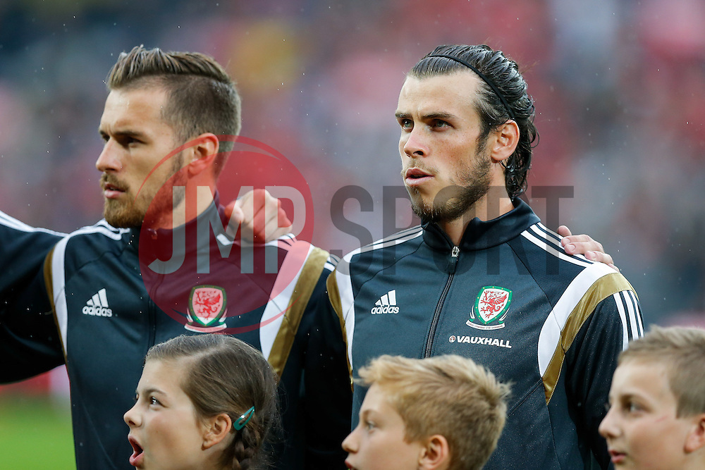 Gareth Bale of Wales (Real Madrid) lines up during the anthems - Photo mandatory by-line: Rogan Thomson/JMP - 07966 386802 - 12/06/2015 - SPORT - FOOTBALL - Cardiff, Wales - Cardiff City Stadium - Wales v Belgium - EURO 2016 Qualifier.