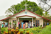 Sunday service at Maria Tubu Imakulata Church in Navala Village, northern highlands of Viti Levu Island, Fiji.