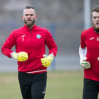 St Johnstone FC Training…15.03.18<br />Alan Mannus and Zander Clark in training this morning at McDiarmid Park ahead of tomorrow night's game against Hibs.<br />Picture by Graeme Hart.<br />Copyright Perthshire Picture Agency<br />Tel: 01738 623350  Mobile: 07990 594431