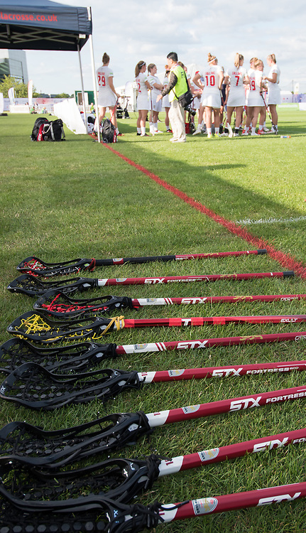 English sticks at the 2017 FIL Rathbones Women's Lacrosse World Cup at Surrey Sports Park, Guilford, Surrey, UK, 15th July 2017