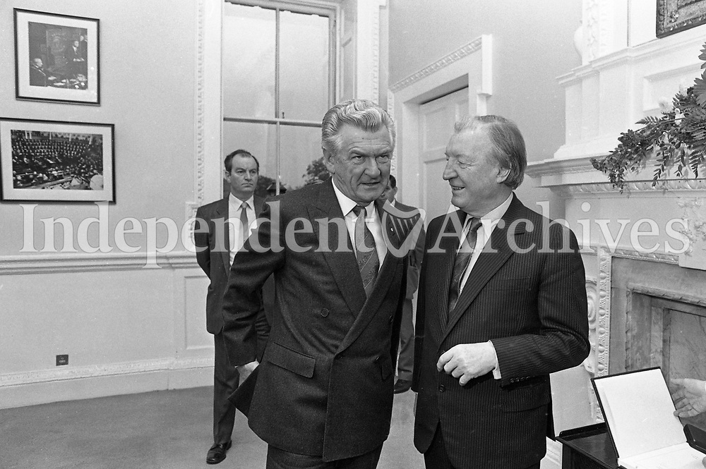 Australian Prime Minister Robert Hawke and Taoiseach Charles Haughey, meeting party leaders in Dail Eireann, 21/10/1987 (Part of the Independent Newspapers Ireland/NLI Collection).