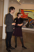 BEN CAUCHI; ANG LANE, David Salle private view at the Maureen Paley Gallery. 21 Herlad St. London. E2. <br /> <br />  , -DO NOT ARCHIVE-&copy; Copyright Photograph by Dafydd Jones. 248 Clapham Rd. London SW9 0PZ. Tel 0207 820 0771. www.dafjones.com.