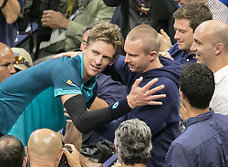 September 8, 2017 - Flushing Meadows, New York, U.S - Kevin Anderson hugs his brother after defeating Pablo Carreno Busta in Semifinal game on Day Twelve of the 2017 US Open at the USTA Billie Jean King National Tennis Center on Friday September 8, 2017 in the Flushing neighborhood of the Queens borough of New York City.  Anderson defeats Carreno Busta. Anderson defeats Carreno Busta, 4-6, 7-5, 6-3, 6-4. (Credit Image: © Prensa Internacional via ZUMA Wire)