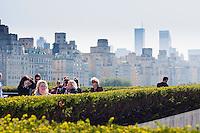 visitors attending Jeff Koons on the Roof of Metropolitan Museum of Art in New York City in October 2008