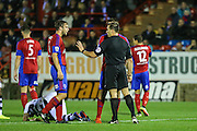 Aldershot Town's Cheye Alexander(12) is  shown a red card, sent off during the Vanarama National League match between Aldershot Town and Forest Green Rovers at the EBB Stadium, Aldershot, England on 4 October 2016. Photo by Shane Healey.