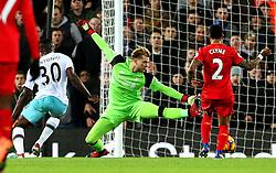 Michail Antonio of West Ham United scores his sides second goal past Loris Karius of Liverpool  - Mandatory by-line: Matt McNulty/JMP - 11/12/2016 - FOOTBALL - Anfield - Liverpool, England - Liverpool v West Ham United - Premier League