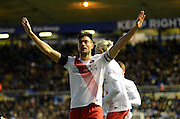 Charlton Athletic midfielder Johnnie Jackson celebrates, goal during the Sky Bet Championship match between Birmingham City and Charlton Athletic at St Andrews, Birmingham, England on 21 November 2015. Photo by Alan Franklin.