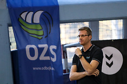 Gasper Ribic, head coach of Calcit Volley during volleyball match between Calcit Volley and Salonit Anhovo in Semifinal of Slovenian League 2017/18, on April 14, 2018 in Sportna Dvorana, Kamnik, Slovenia. Slovenia. Photo by Matic Klansek Velej / Sportida