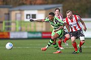 Forest Green Rovers Keanu Marsh-Brown(7) beats Lincoln City's Harry Anderson to the ball during the Vanarama National League match between Forest Green Rovers and Lincoln City at the New Lawn, Forest Green, United Kingdom on 19 November 2016. Photo by Shane Healey.