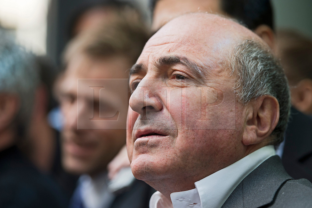 © London News Pictures. 31/08/2012. London, UK. Russian Oligarch Boris Berezovsky speaking to the media outside at The Royal Courts Of Justice on August 31, 2012 after a judge ruled against Berezovsky in a  £3.2 billion lawsuit over Abramovich's £10.3 billion fortune. Photo credit: Ben Cawthra/LNP