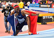 Aurel Manga (FRA) celebrates his bronze medal in the Men's 60m Hurdles Final with a time of 7.54 during the final session of the IAAF World Indoor Championships at Arena Birmingham in Birmingham, United Kingdom on Saturday, Mar 2, 2018. (Steve Flynn/Image of Sport)