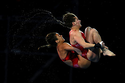 Canada's Meaghan Benefeito and Caeli McKay compete in the Women's Synchronised 10m Platform Final at the Optus Aquatic Centre during day seven of the 2018 Commonwealth Games in the Gold Coast, Australia.