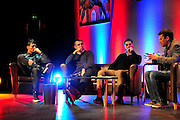 Julin Speroni, Paddy McCarthy and James Scowcroft discuss past times during The gloves are off. An Evening With Julian Speroni at  at Fairfields Hall, Croydon, United Kingdom on 20 January 2015. Photo by Michael Hulf.