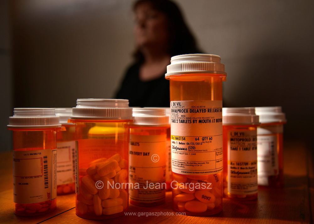 Medications taken by a chronically ill patient, including Depakote.